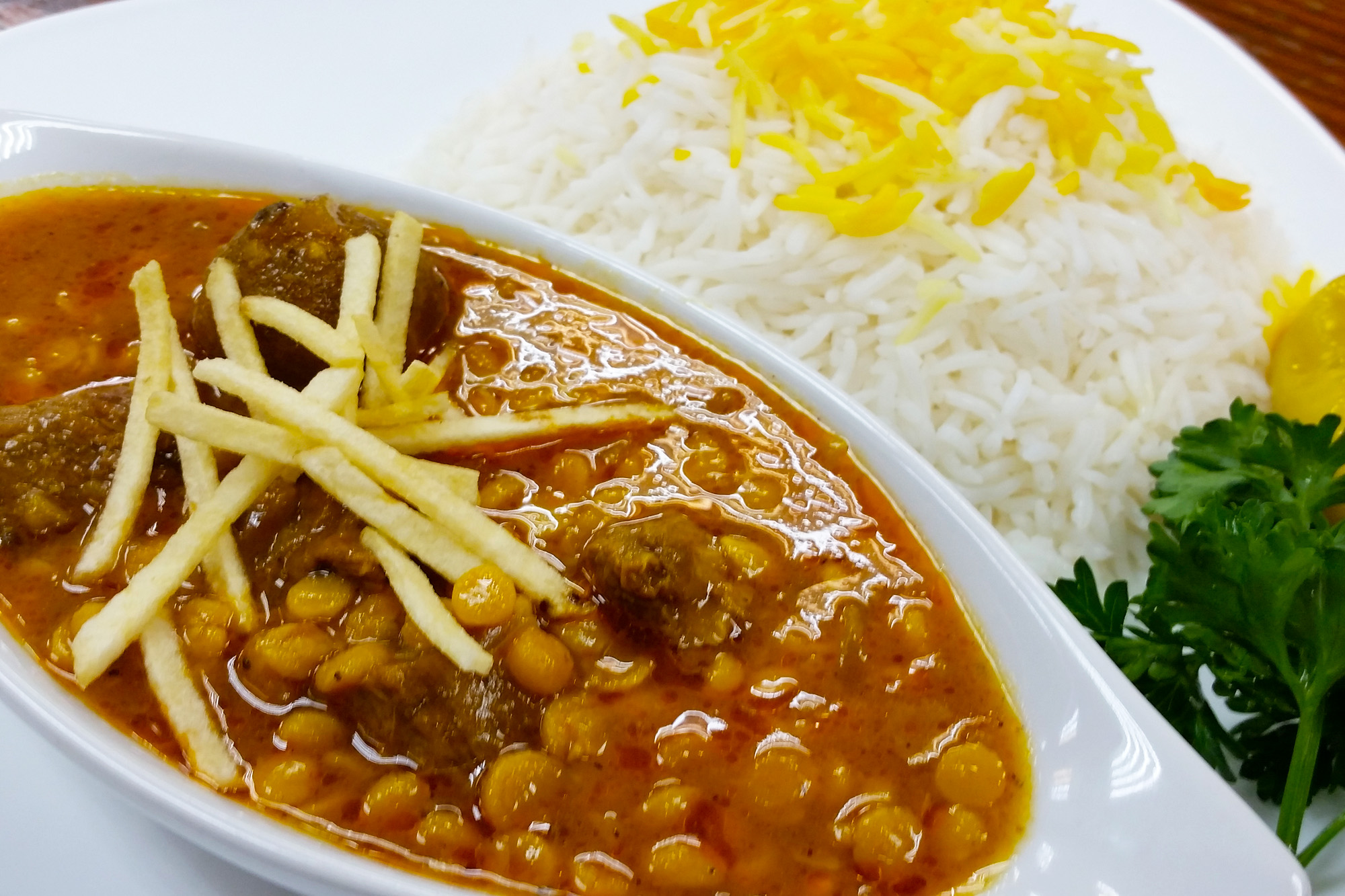 Gheymeh ~ Yellow lentils stewed in tomato with beef and herbs and dried lemon at Sahel Persian Restaurant
